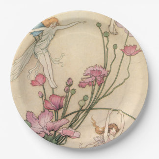 Fairies Jumping on Flowers Paper Plate