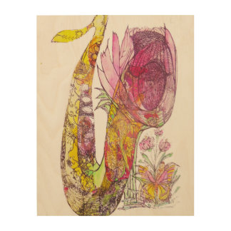 Fairies under a Flowering Saxophone Wood Print