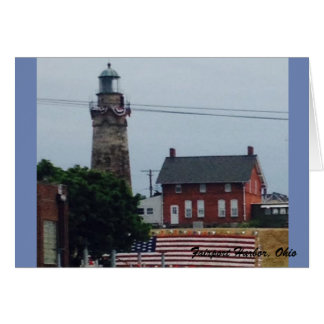 Fairport Harbor Lighthouse with Flag Greeting Card