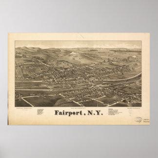 Fairport New York 1885 Antique Panoramic Map Poster