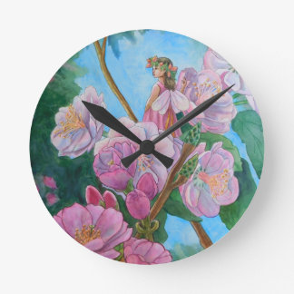 Fairy Amongst the Cherry Blossoms Round Clock