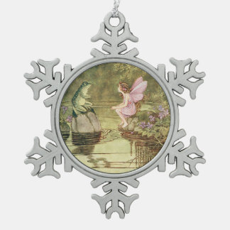 Fairy and Frog Vintage Image Snowflake Ornament