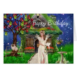 Fairy and Siamese Cat Birthday Card