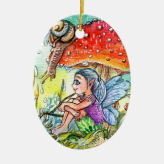Fairy and the Snail Ceramic Ornament