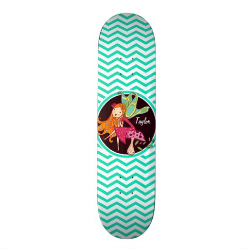 Fairy; Aqua Green Chevron Skateboard