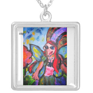 fairy art five silver plated necklace