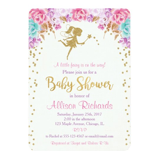 Fairy baby shower invitation pink and gold | Zazzle.com.au