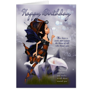 Fairy Birthday Card - Fairy Blowing Bubbles Birthd