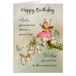 Fairy Birthday Card With Blue Butterflies And Blos