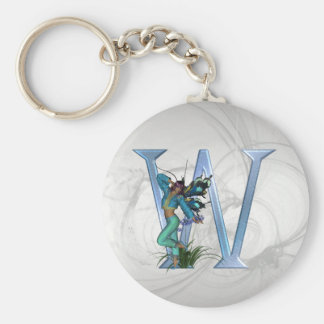 Fairy Blue Monogram W Key Ring
