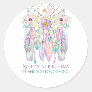 Fairy Boho Dream Catcher Pastels Feathers Round Sticker