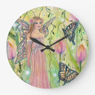Fairy butterfly wall clock by Renee Lavoie