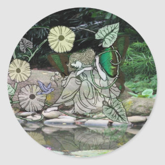 Fairy by the Water2 Classic Round Sticker