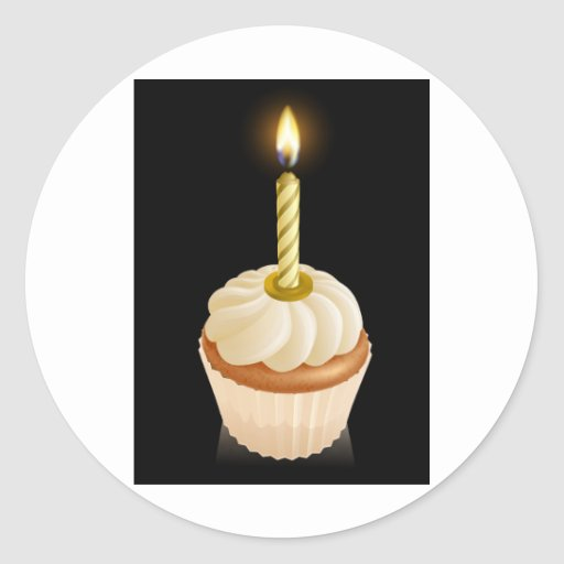 Fairy cake cupcake with birthday candle round stickers