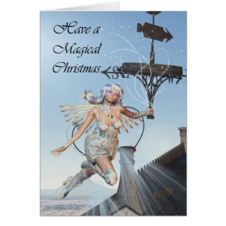 Fairy christmas scene, fairy holding weather vane greeting card