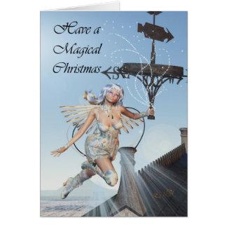 Fairy christmas scene, fairy holding weather vane greeting card