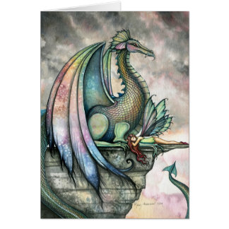 Fairy Dragon Fantasy Card by Molly Harrison