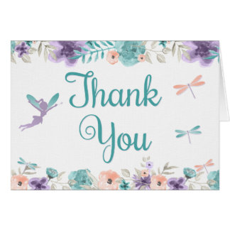 Fairy Dragonfly Floral Thank Card