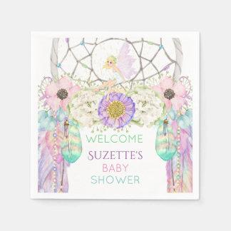 Fairy Dream Catcher Feather Lavender Pink Mint Disposable Serviette