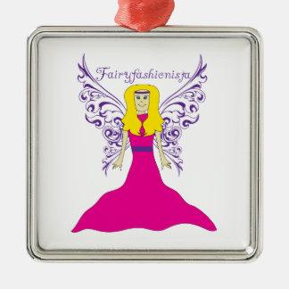Fairy Fashionista Silver-Colored Square Decoration