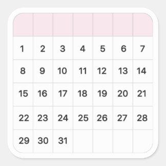 Fairy Floss Monthly Calendar Square Sticker