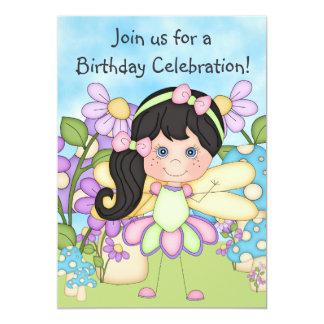 Fairy, FLowers and Mushrooms Birthday Invite