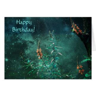 Fairy Flowers in the Jade Moonlight Birthday Card