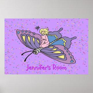 Fairy Flying on Butterfly bedroom door poster