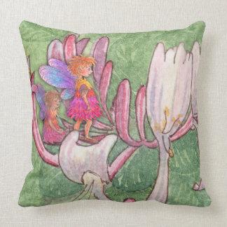 Fairy friends on the honeysuckle cushion