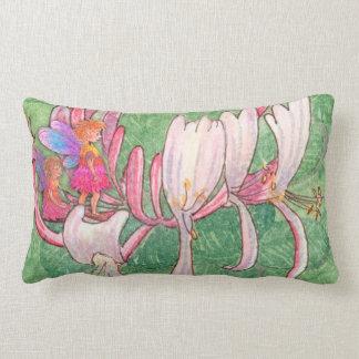 Fairy friends on the honeysuckle lumbar cushion