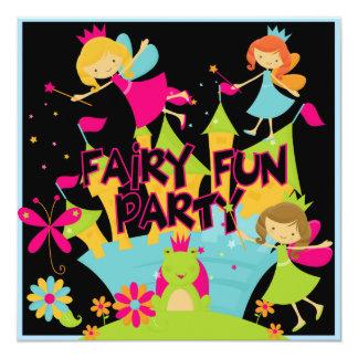 """Fairy Fun Customized Birthday Invitations 5.25"""" Square Invitation Card"""