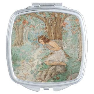 Fairy Gazing Into a Stream, Travel Mirror