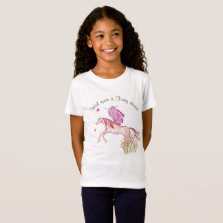 Fairy Horse leaping from a flower bed T-Shirt
