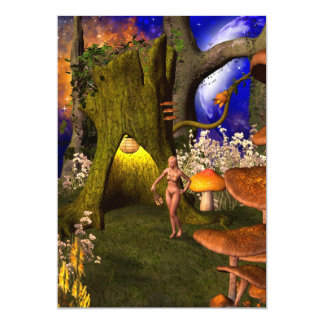 Fairy in a mushroom forest in the night 5x7 paper invitation card