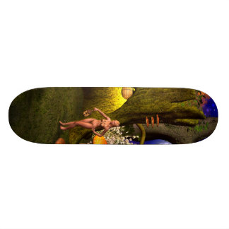 Fairy in a mushroom forest in the night skate deck