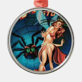 Fairy in a Spider Weg Metal Ornament