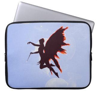 Fairy in fiery red silhouette laptop sleeve