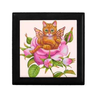 Fairy Kitten Resting in Rose Gift Box