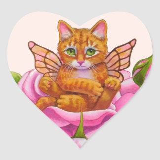Fairy Kitten Resting in Rose Heart Sticker
