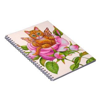 Fairy Kitten Resting in Rose Notebooks