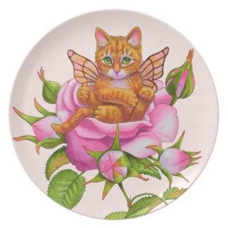 Fairy Kitten Resting in Rose Plate