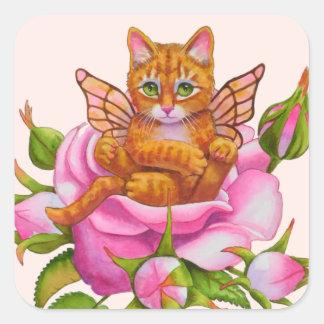 Fairy Kitten Resting in Rose Square Sticker