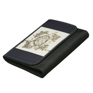 fairy lace garden designs leather wallet for women