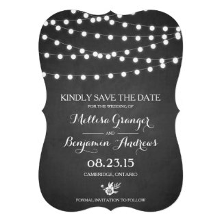 Fairy Lights Chalkboard Save the Date Announcement Cards