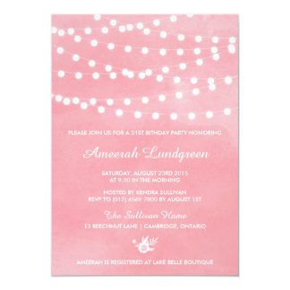 Fairy Lights Pink Birthday Party Invitation