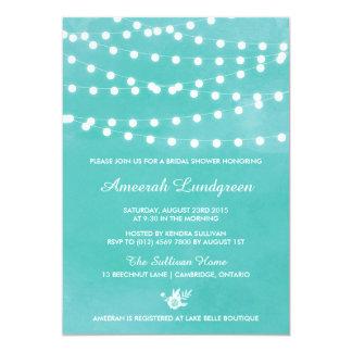 Fairy Lights Teal Bridal Shower Invitation