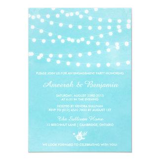Fairy Lights Tiffany Blue Engagement Invitation