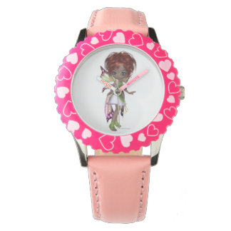 Fairy magic faerie in a pink and green dress watch