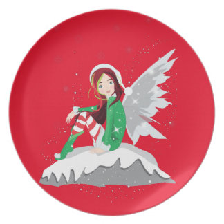 Fairy Merry Christmas Melamine Plate