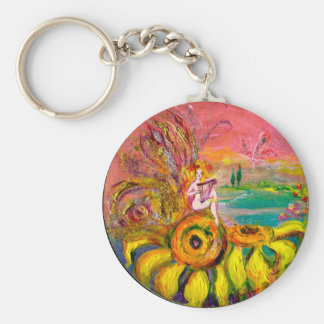 FAIRY OF THE SUNFLOWERS yellow pink blue Keychains